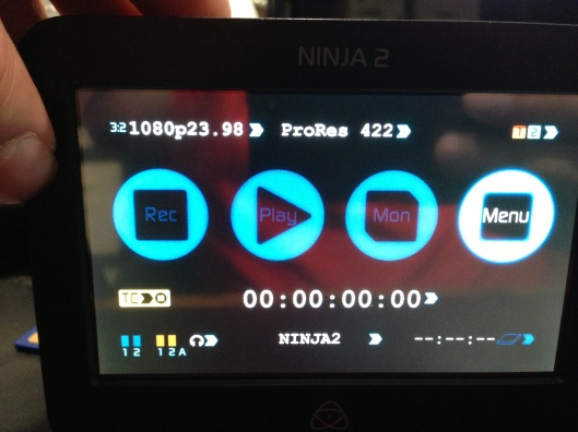 The Ninja 2's options menu when set to 1080p23.98 and the D800 as an input.