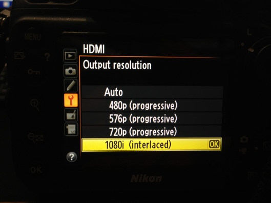 The D800's HDMI output menu after the 1.01A Firmware update