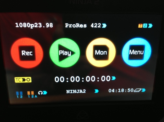 The Ninja 2 menu ready to record the D800 in 1080p