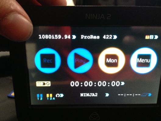 The Ninja 2's screen when set to 1080i for the Nikon D800
